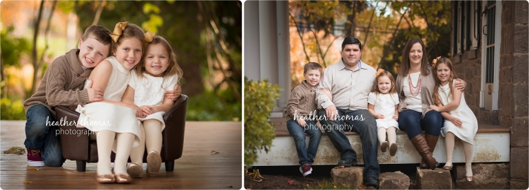 family with young children sitting outside smiling at camera in philadelphia, pa photo by heather thomas photography