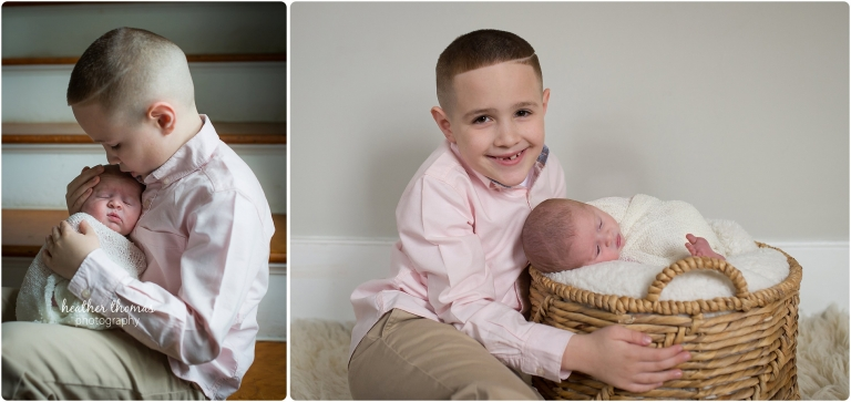 big brother, little sister cuddling in their newborn photography session photo by heather thomas photography