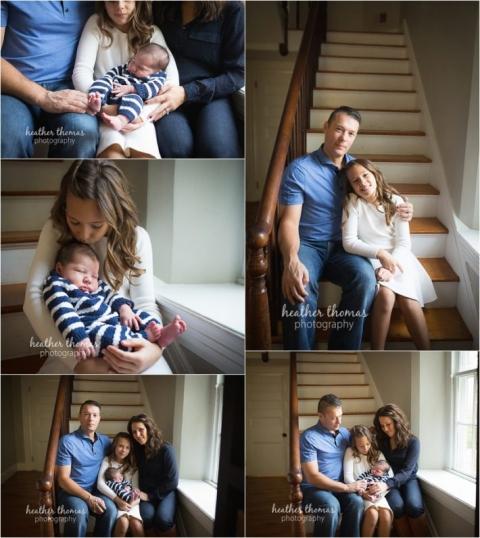 newborn boy with family wearing blue
