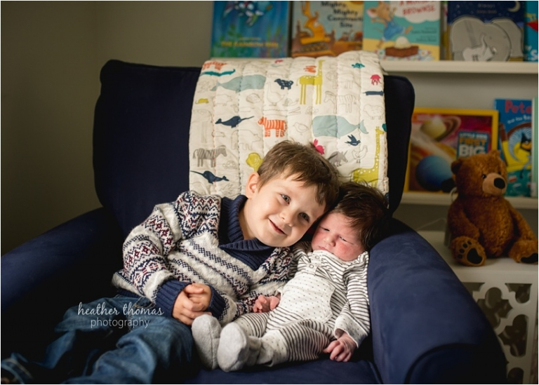 newborn and toddler at their home in bucks county