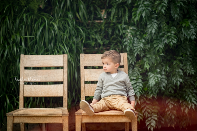 2 year old boy at longwood garden with heather thomas photography