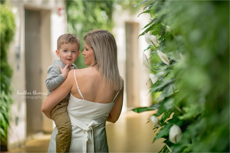 mother and son at longwood garden with heather thomas photography