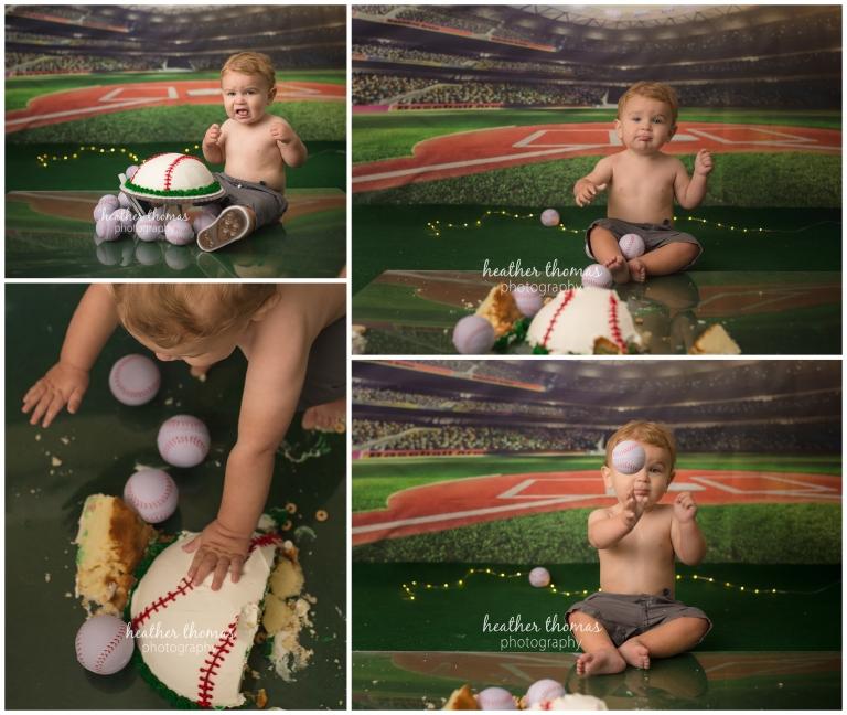 a 1 year old boy smashing a baseball cake at a photo shoot in philadelphia