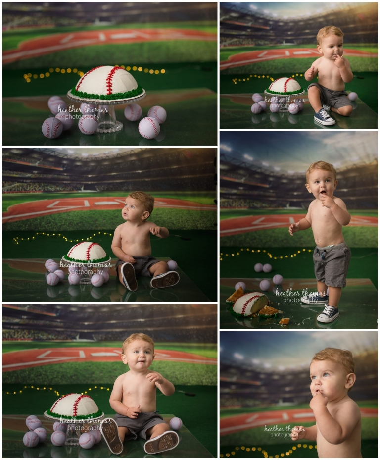 pictures of a 1 year old boy smashing a baseball cake at a photo shoot in philadelphia