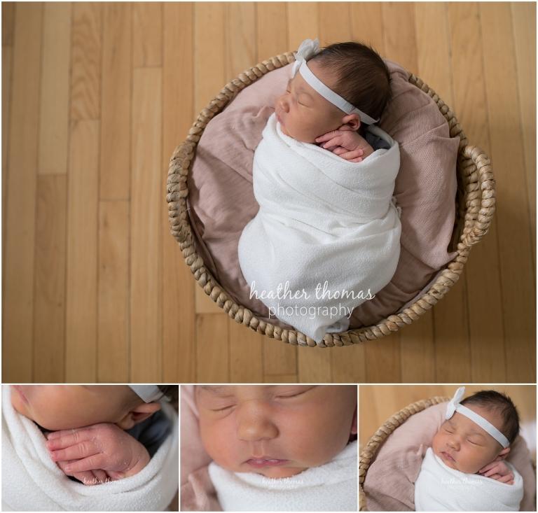 closeups of a newborn girl in a basket