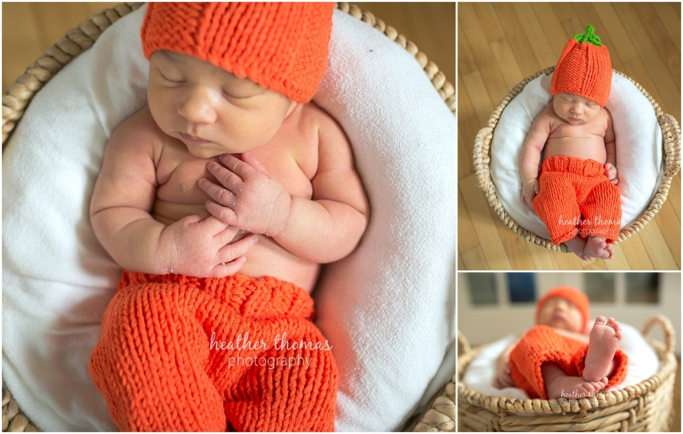 closeups of a newborn girl in pumpkin hat