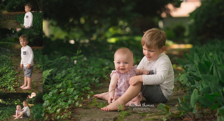 a brother and sister sitting next to eachother outside for a photo shoot with Heather Thomas Photography in Philadelphia