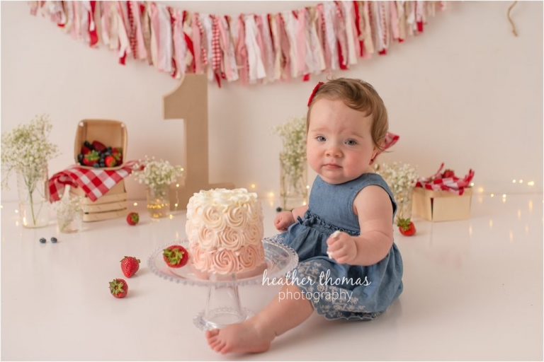 first birthday cake smash with strawberries