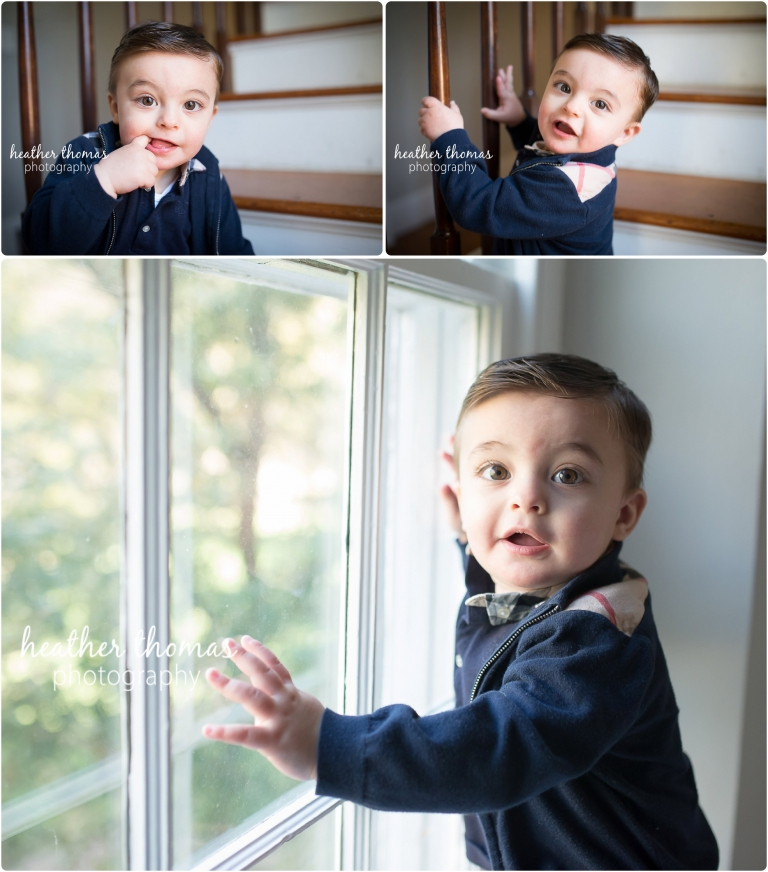 baby boy celebrating his first birthday inside a farmhouse in philadelphia photo by heather thomas photography