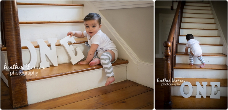 baby boy climbing on stairs with wooden letters in philadelphia photos by heather thomas photography