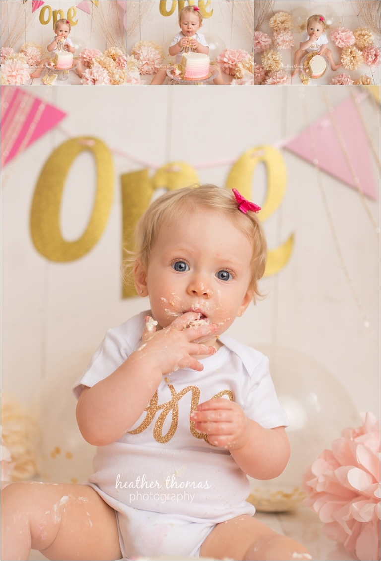 A first birthday photo shoot at the heather thomas photography studio in newtown pa