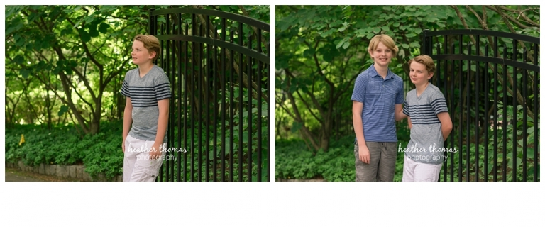 portraits of family of four wearing blue and gray smiling for family portraits