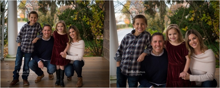 a family of four at the photography studio dressed in holiday clothing