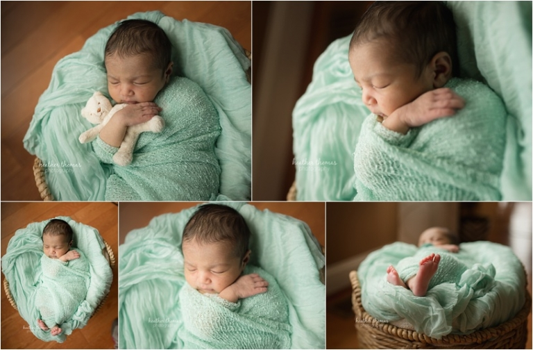 newborn girl with her family dressed in pink and teal in holland pa