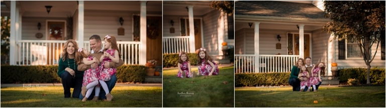 two girls in fancy dresses at their home for a photography session