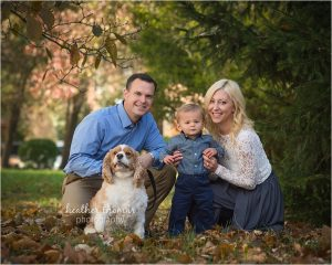 a family portrait outside in newtown pa at the heather thomas photography studio