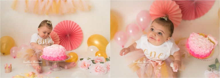 a pink and gold cake smash photography session in bucks county pa