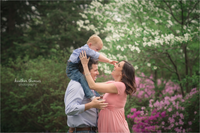 family at longwood garden with heather thomas photography