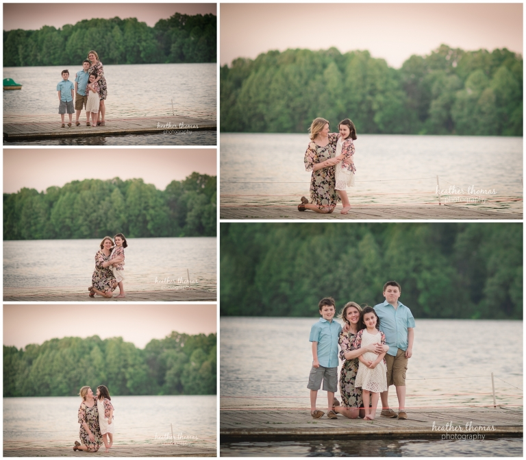 a picture of a mom on the dock with her three kids outside in bucks count oa