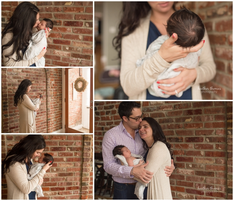 portraits of a mother holding her 10 day old newborn against a brick wall in philadelphia