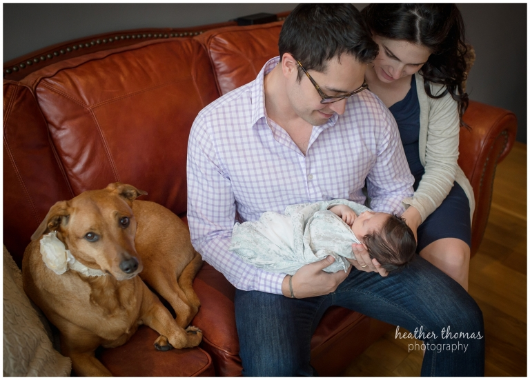 photographs of a family of three in their home during their newborn photography session with heather thomas photography
