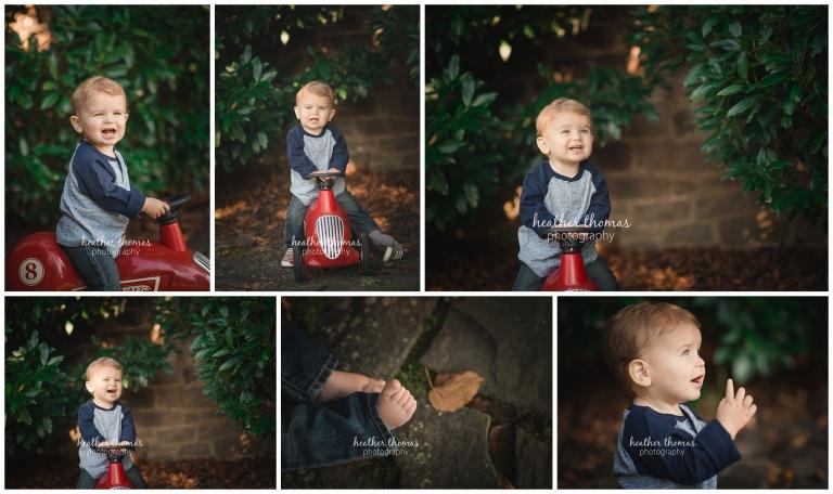 a one year old boy sitting on a radio flyer bike outside in bucks county