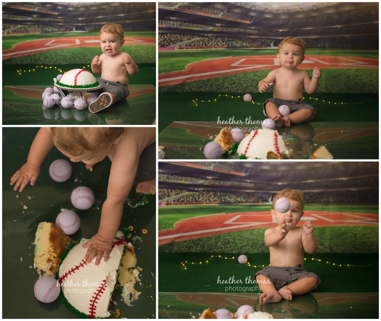 a 1 year old boy smashing a baseball cake at a photo shoot in philadelphia