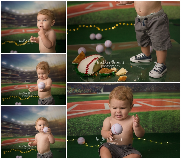 a one year old boy standing during a cake smash photo shoot in bucks county