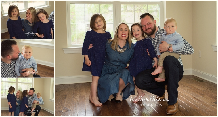 a picture of a family of 5 smiling at their lifestyle portrait session in lansdale
