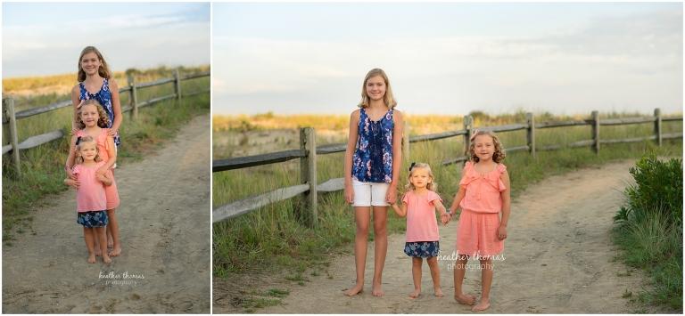 portrait of three sisters in ocean city beach nj