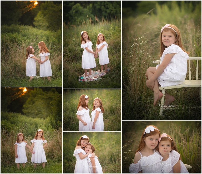 sister photos in a field