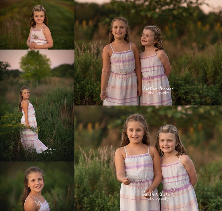 professional pictures of two sisters outside at a field in Philadelphia with heather thomas photography