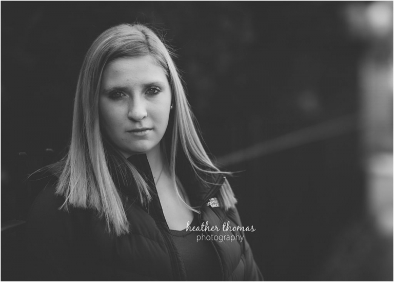 black and white senior photography