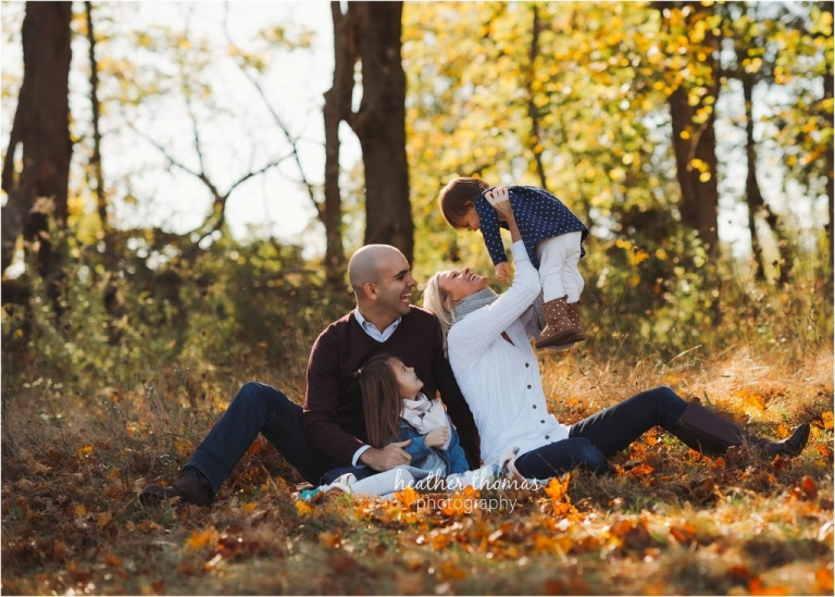 family portrait in autumn outdoors